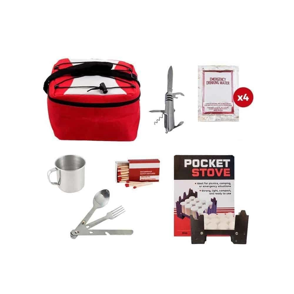 Photo showing emergency food kit tools like utensils, cup, matches, and more.