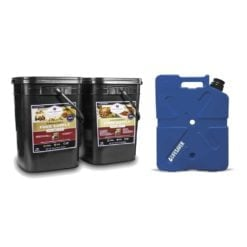 Two black buckets with emergency kit food and a blue lifesaver jerrycan.