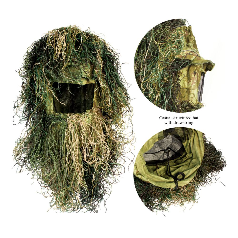 Red Rock 5-Piece Ghillie Suit Woodland – X-Large-2X-Large Head