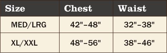 Red Rock 5-Piece Ghillie Suit Desert – Medium-Large SIze Chart