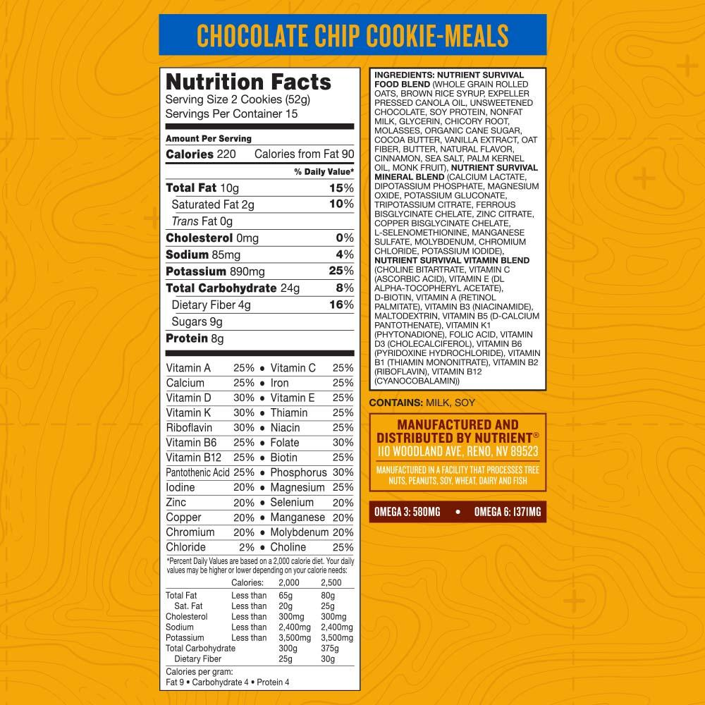 NS Chocolate chip nutrition